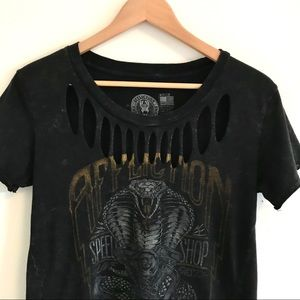 Affliction distressed black/gray graphic t-shirt